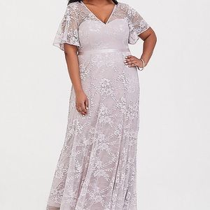 Lilac lace formal gown